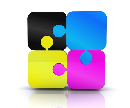 eg: Puzzle with the basic colors of the graphics - 3D Stock Photo