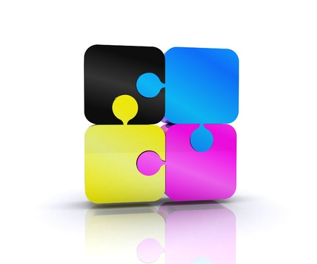 Puzzle with the basic colors of the graphics - 3D Stock Photo - 14402506