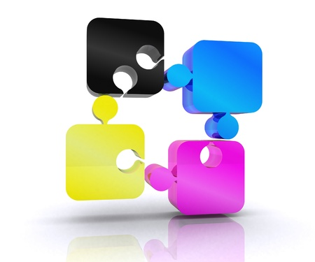 Puzzle with the basic colors of the graphics - 3D Stock Photo - 14402509