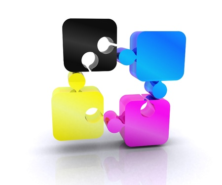 Puzzle with the basic colors of the graphics - 3D Stock Photo - 14402507