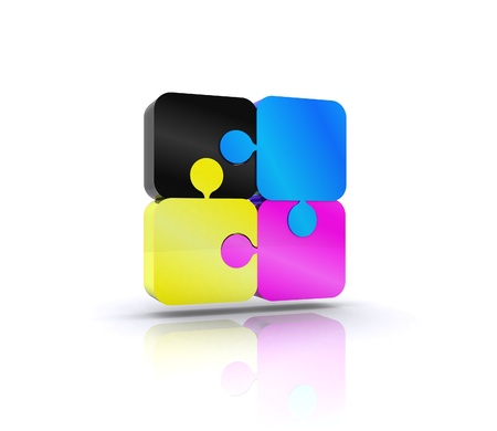 cmyk abstract: Puzzle with the basic colors of the graphics - 3D Stock Photo