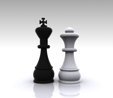 3D Chess - King and Queen Stock Photo