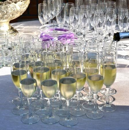 Toast with crystal glasses photo