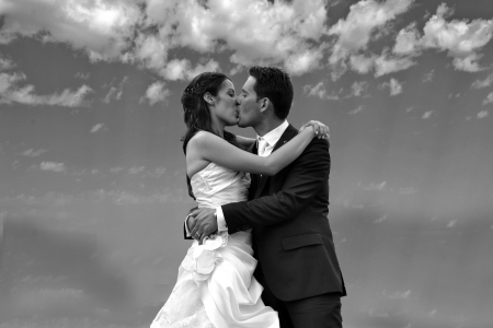 Kiss the bride and groom Stock Photo - 15095772