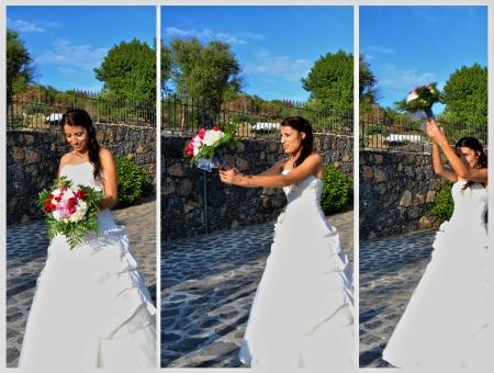 spouses: The launch of the bride s bouquet Stock Photo