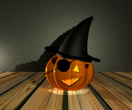 Pumpkin pirate Halloween - 3D Stock Photo - 15148602
