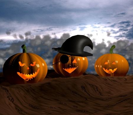 Halloween pumpkins - 3D photo