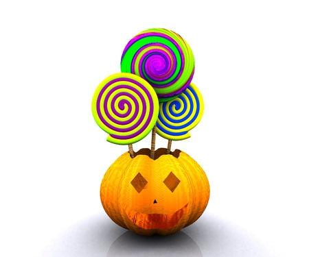 lollys: 3D background of halloween - pumpkin with licks licks Stock Photo