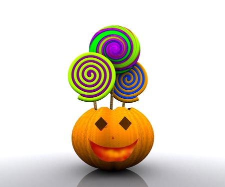 3D background of halloween - pumpkin with licks licks Stock Photo - 15627939