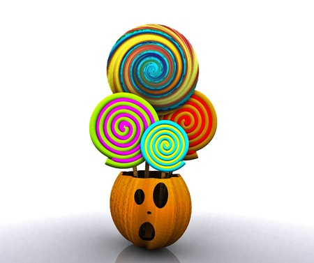 3D background of halloween - pumpkin with licks licks Stock Photo - 15627944