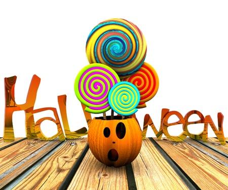 3D background of halloween - pumpkin with licks licks Stock Photo - 15627946