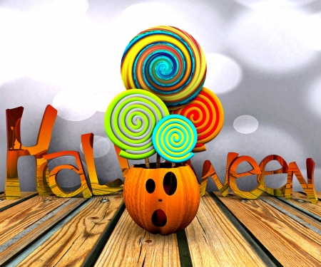 3D background of halloween - pumpkin with licks licks Stock Photo - 15627948