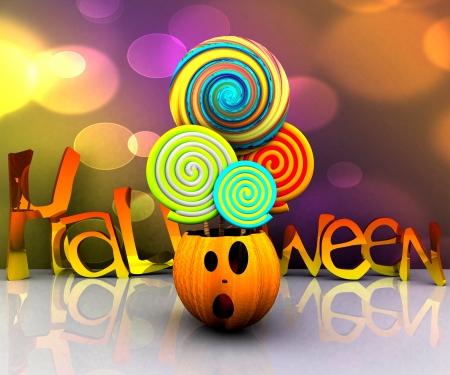november 3d: 3D background of halloween - pumpkin with licks licks Stock Photo