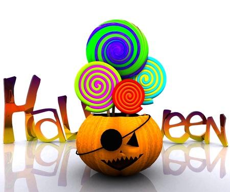 3D background of halloween - pumpkin with licks licks Stock Photo - 15627941