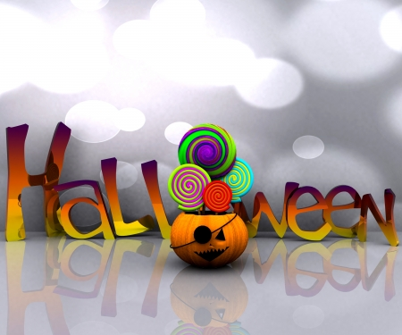 3D background of halloween - pumpkin with licks licks photo