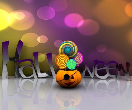 3D background of halloween - pumpkin with licks licks Stock Photo - 15627942