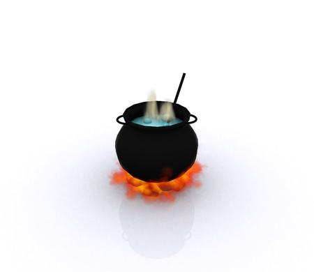 pot black magic bubbles - 3D photo
