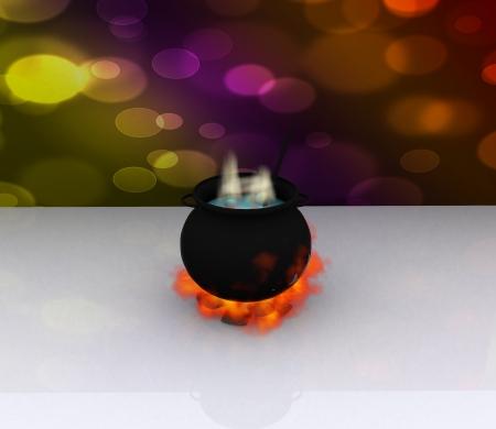 black magic: pot black magic bubbles - 3D Stock Photo
