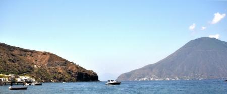 Salina - view from the island of Lipari Stock Photo