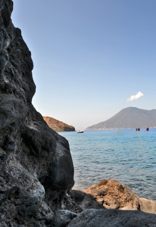 lipari: Salina - view from the island of Lipari Stock Photo