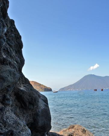 filicudi: Salina - view from the island of Lipari Stock Photo