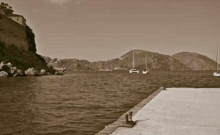 lipari: Coast of the island of Lipari, Sicily Stock Photo