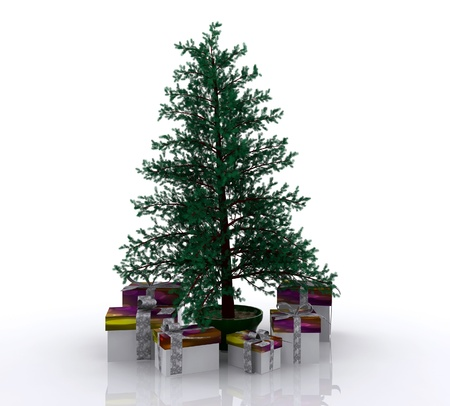 Christmas tree with gifts - 3D photo