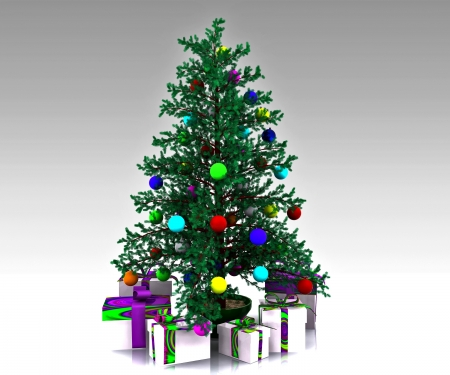 Christmas background with decorated Christmas tree Stock Photo - 16228471