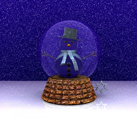 Glass ball with Snowman - 3D  photo
