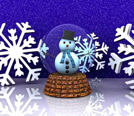 Glass ball with snowman and snowflakes - 3D Stock Photo - 16331764