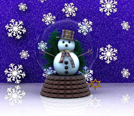 Nice glass ball with snowman - 3D photo