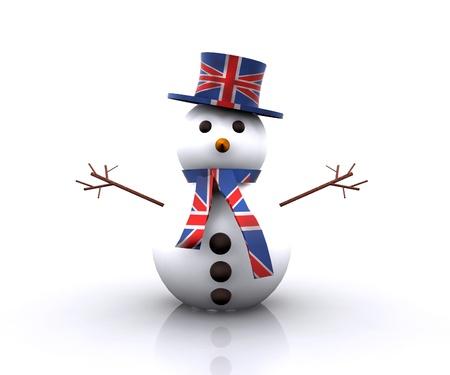 Cheerful Snowman English - 3D photo