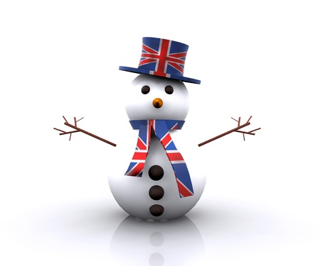 new england: Cheerful Snowman English - 3D Stock Photo