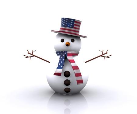 Nice Snowman American - 3D photo