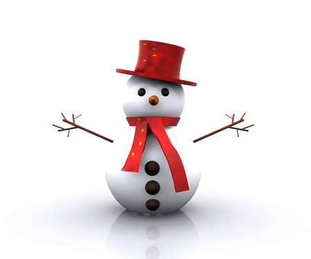 Cheerful Snowman Chinese - 3D photo