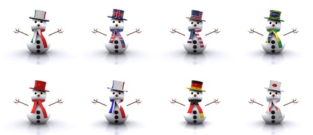 Set - Snowmen of different Countries 3D photo