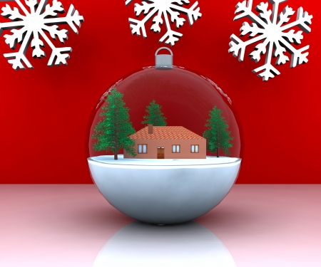 chimney pot: Carillon Christmas winter landscape with house - 3D