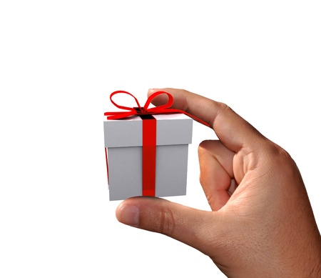 shove: Hand holding small gift