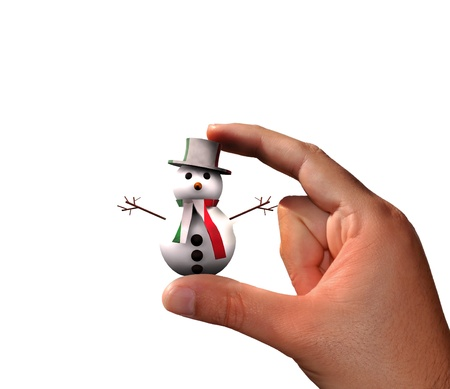 Hand with cute Snowman Stock Photo - 16462082