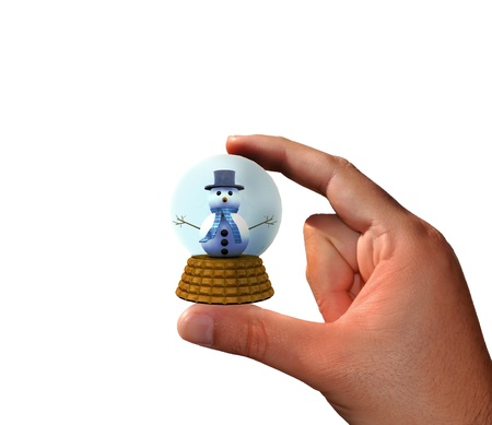 Hand holding a ball with snowman Stock Photo - 16462087
