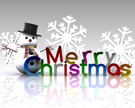 greet eyes: Christmas illustration with text and snowman - 3D Stock Photo