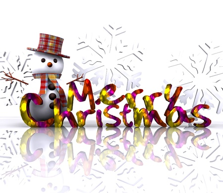 carrot nose: Christmas illustration with text and snowman - 3D Stock Photo