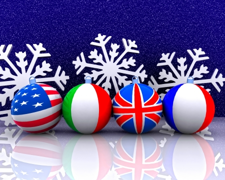 Christmas balls with flag - 3D photo
