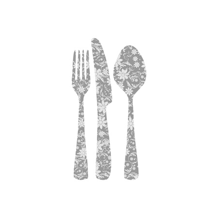 Cutlery with floral decorations Vector