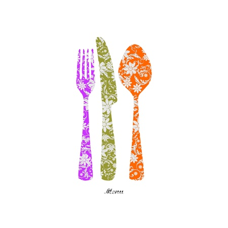 Cutlery with floral decorations Stock Vector - 16668950