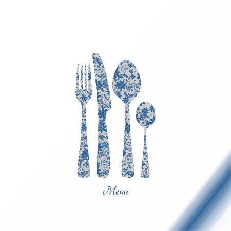 Cutlery with floral decorations - vintage Vector
