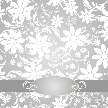 Elegant Flower Decoration - silver  Vector