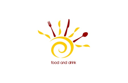 Food and drink logo with stylized sun and cutlery table Vector