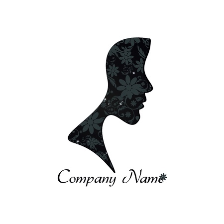 company profile: Logo of perfect profile of a Woman with Floral