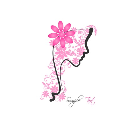 Perfect profile of a Woman with Floral  Illustration
